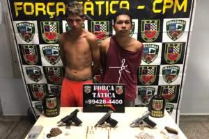 Dupla é presa com armas e drogas no São Geraldo em Manaus