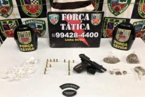 Força Tática detêm jovem com arma de fogo e drogas em Educandos