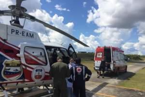 Helicóptero da SSP resgata para Manaus jovem vítima de acidente de trânsito em Itacoatiara