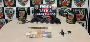 PM detém trio com dinheiro e armas de fogo no Tancredo Neves
