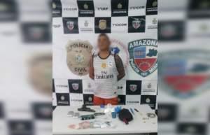 Polícia Militar detém suspeito com arma de fogo e drogas no Centro