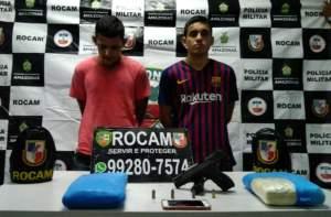Policiais da Rocam detiveram dupla suspeita de tráfico e porte ilegal