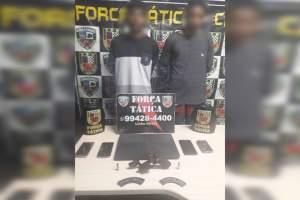 Policiais militares da Força Tática detêm suspeitos com arma de fogo e celulares no Novo Aleixo