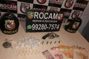 Policiais militares da Rocam apreendem revólver e drogas na zona Norte