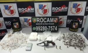 Rocam detém infrator por porte ilegal de arma de fogo e tráfico de drogas no Crespo