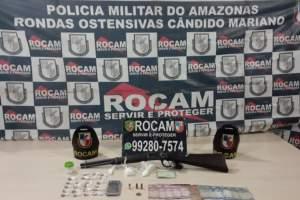 Rocam detém suspeito com arma e drogas na Colônia Santo Antônio
