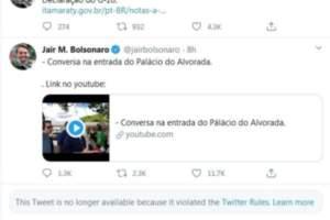 Twitter apaga postagens de Bolsonaro por violação de regras da empresa